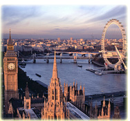 The Houses of Parliament, Westminster, the Thames and the London Eye