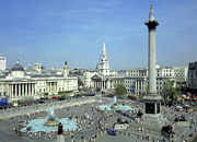Trafalgar Square with the National Gallery running down its left side and Nelson's Column on the right